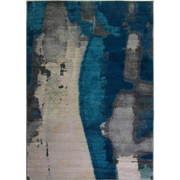 La Dole Rugs®  Innovative Rectangular Abstract Rug - 4' x 6' - Cream/Grey