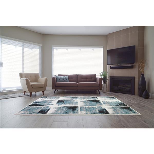La Dole Rugs®  Kensington Geometric Area Rug - 8' x 11' - Teal/Ivory