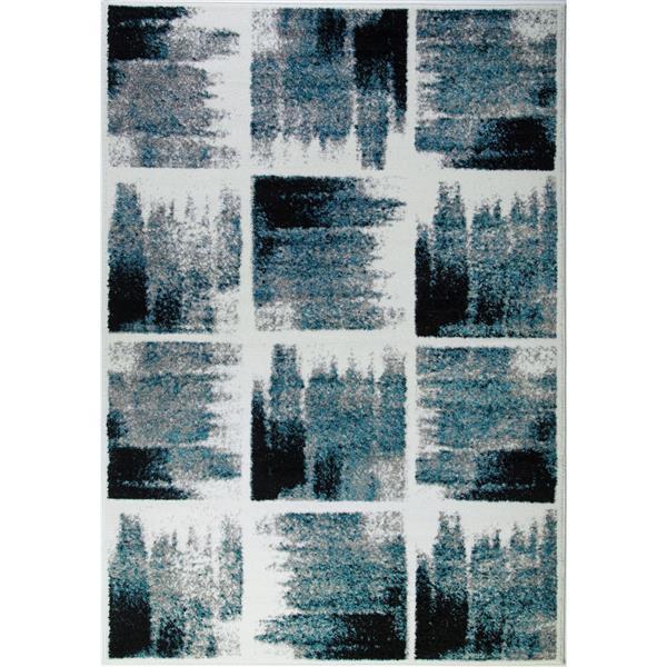 La Dole Rugs®  Kensington Geometric Area Rug - 3' x 10' -Teal/Ivory