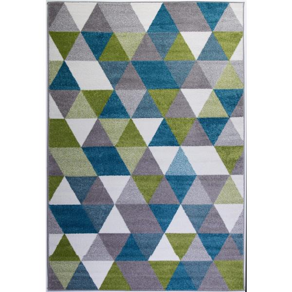 La Dole Rugs®  Geometric Empire Triangle Rug - 8' x 11' - Blue/White
