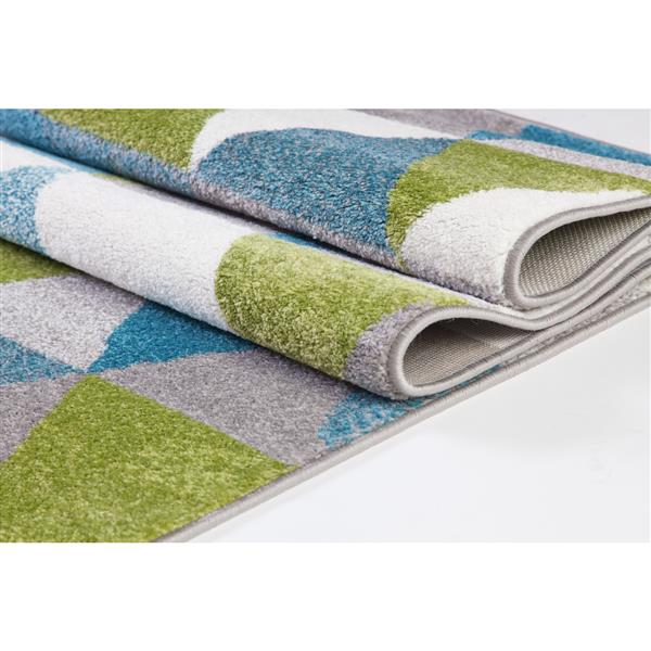 La Dole Rugs®  Geometric Empire Triangle Area Rug - 3' x 10' - Green/Blue