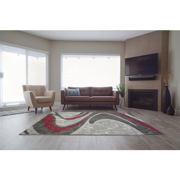 La Dole Rugs®  Innovative Spiral Abstract Area Rug - 3' x 10' - Grey/Black