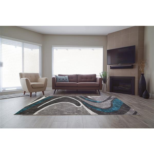 La Dole Rugs®  Innovative Spiral Abstract Area Rug - 4' x 6' - Black/Grey