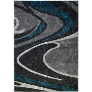 Tapis innovant spirale abstrait, 7' x 10', noir/gris