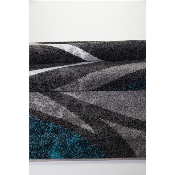 La Dole Rugs®  Innovative Spiral Abstract Area Rug - 3' x 10' - Black/Grey