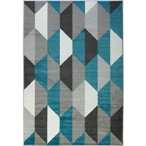 Tapis moderne géométrique «Honeycomb», 3' x 10', bleu/gris