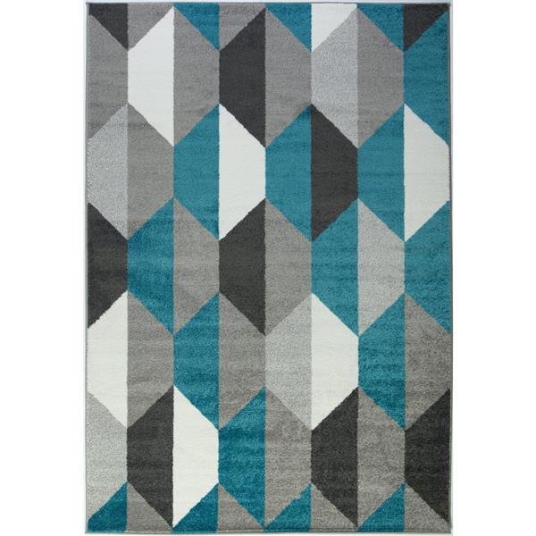 Tapis moderne géométrique «Honeycomb», 7' x 10', bleu/gris