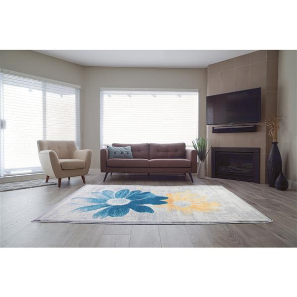 "La Dole Rugs®  Floral Rectangular Doormat - 2' x 3' 3"" - Teal/Yellow"