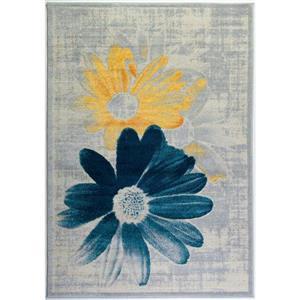 "Tapis floral rectangulaire, 1' 10"" x 2' 11"", sarcelle/jaune"
