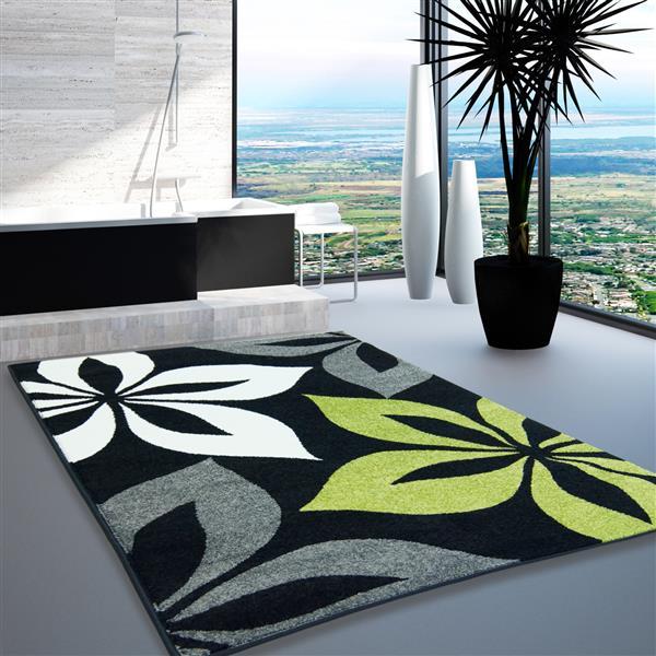 Tapis floral européen rectangulaire, 8' x 11', noir/gris