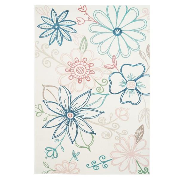 Tapis à motif floral contemporain «Daisy», 7' x 10', crème