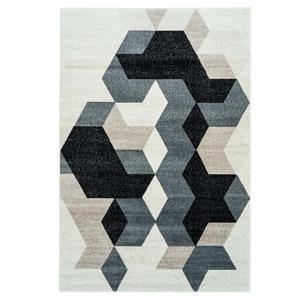 Tapis géométrique rectangulaire «Sultan», 7' x 10', noir