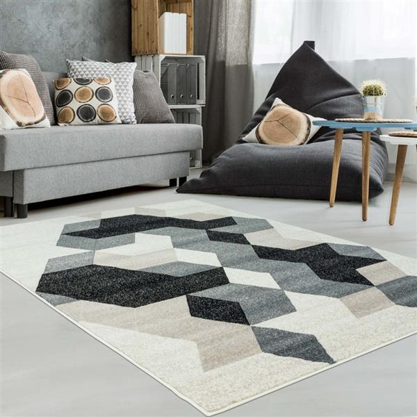 La Dole Rugs® Sultan Geometric Rectangular Rug - 5' x 8' - Black