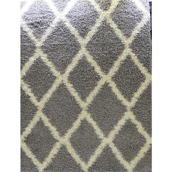 Tapis rectangulaire «Diamond», 5' x 8',  gris/crème