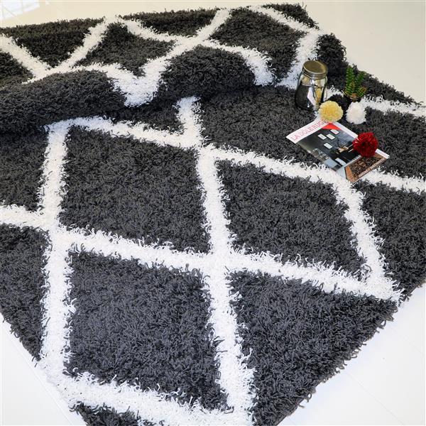 La Dole Rugs®  Diamond Rectangular Area Rug - 5' x 8' - Grey/White