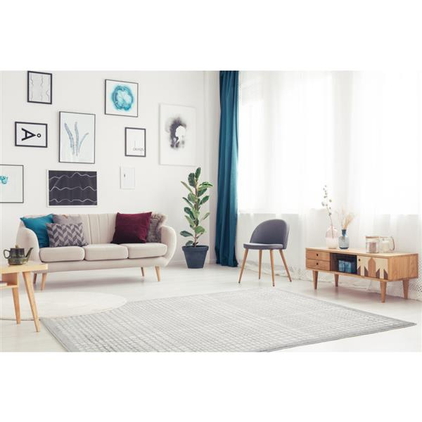 "La Dole Rugs®  Geometric Square Area Rug - 5' 2"" x 7' 3"" - Grey"