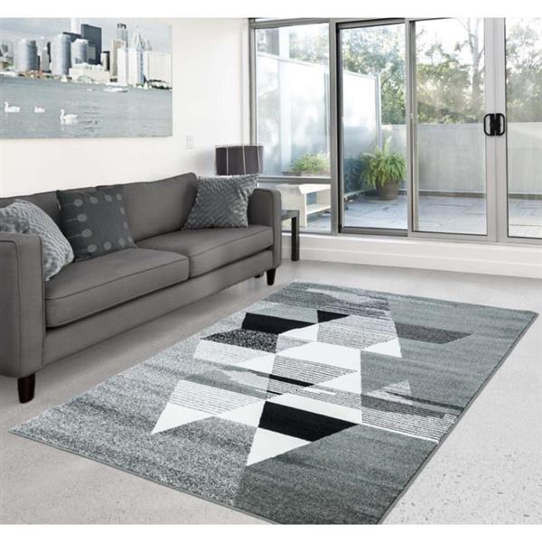 "La Dole Rugs®  Geometric Rectangular Area Rug - 7' 8"" x 10' 4"" - Grey/White"