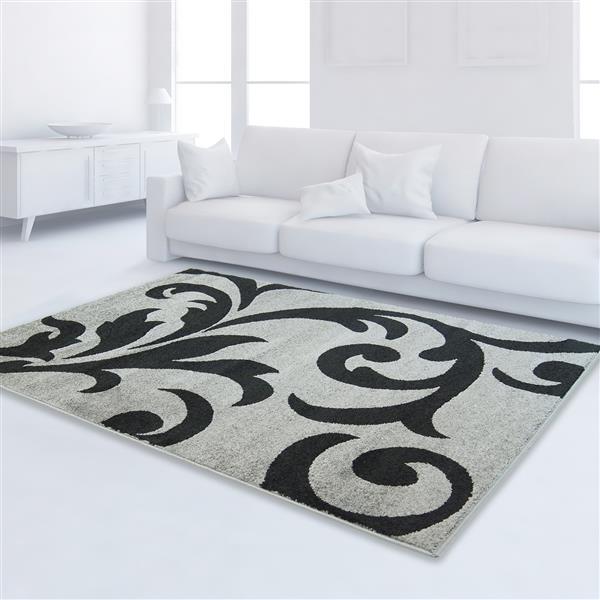 "La Dole Rugs®  Floral Rectangular Area Rug - 6' 2"" x 9' 2"" - Ivory/Black"