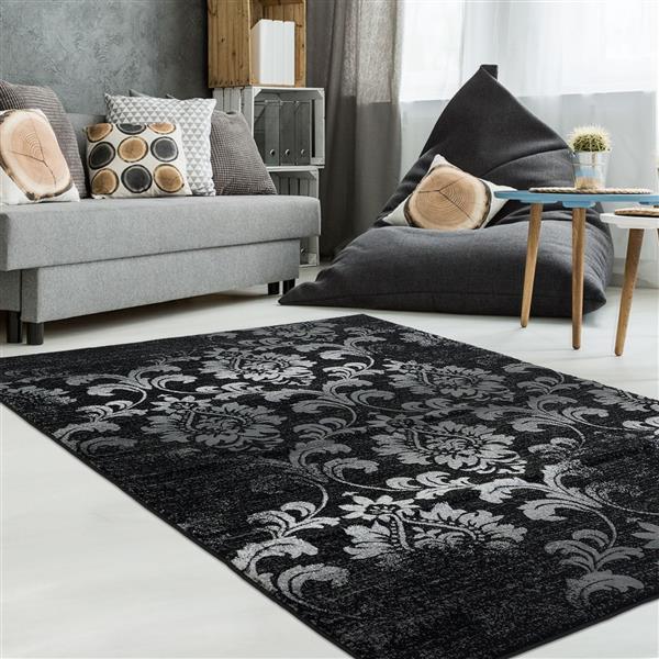 Tapis contemporain floral «Parma», 4' x 6', noir/gris