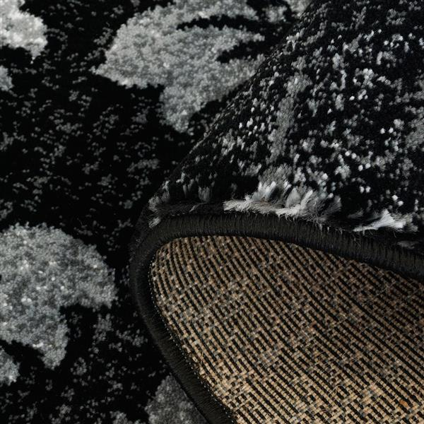 La Dole Rugs® Parma Contemporary Floral Area Rug - 5' x 8' - Black/Grey