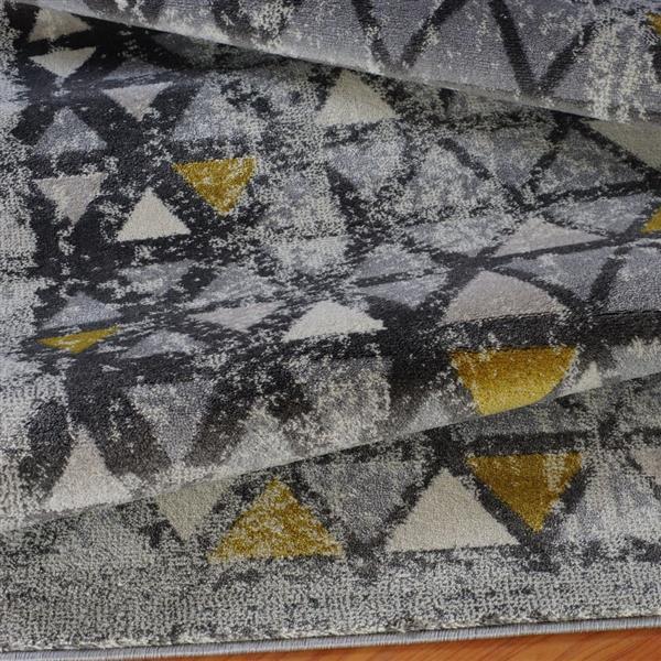 La Dole Rugs®  Diamond Geometric European Rug - 7' x 10' - Grey /Yellow