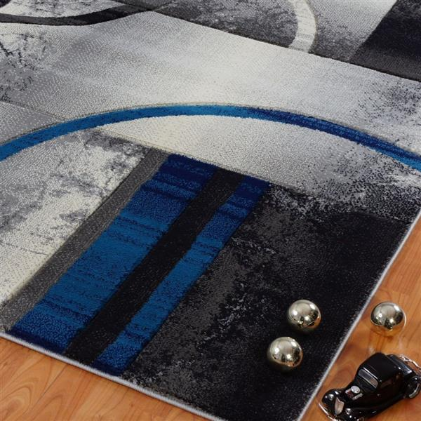 La Dole Rugs®  European Adonis Geometric Area Rug - 3' x 10' - Grey/Blue