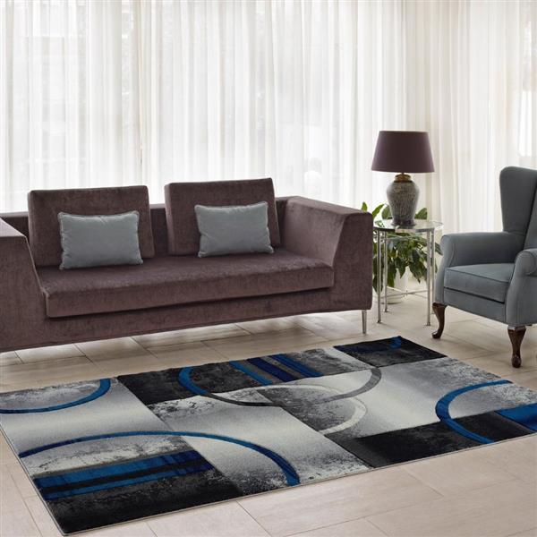 La Dole Rugs®  European Adonis Geometric Area Rug - 4' x 6' - Grey/Blue