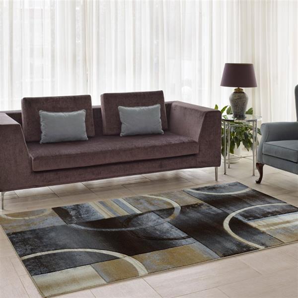 La Dole Rugs®  European Adonis Geometric Area Rug - 3' x 5' - Black/Grey
