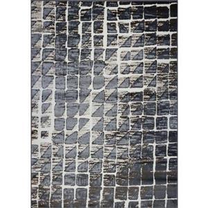Tapis géométrique contemporain rectangulaire, 4' x 6', crème