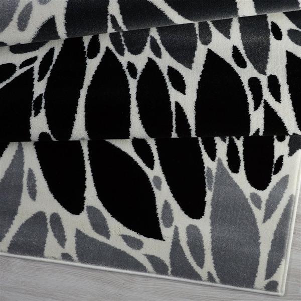 Tapis géométrique contemporain rectangulaire, 8' x 11', noir