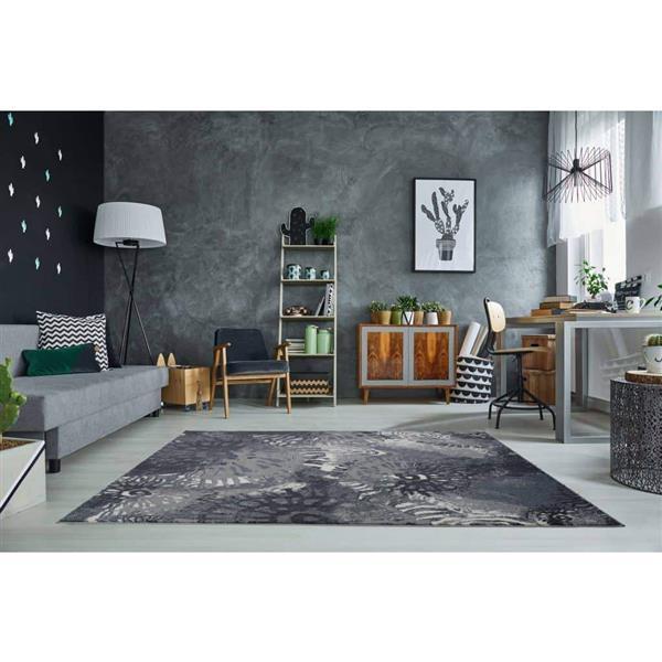 La Dole Rugs®  Casa Loma Rectangular Turkish Rug - 5' x 8' - Grey/Cream