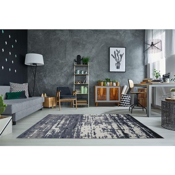 La Dole Rugs®  Barrie Turkish Rectangular Area Rug - 5' x 8' - Grey/Ivory