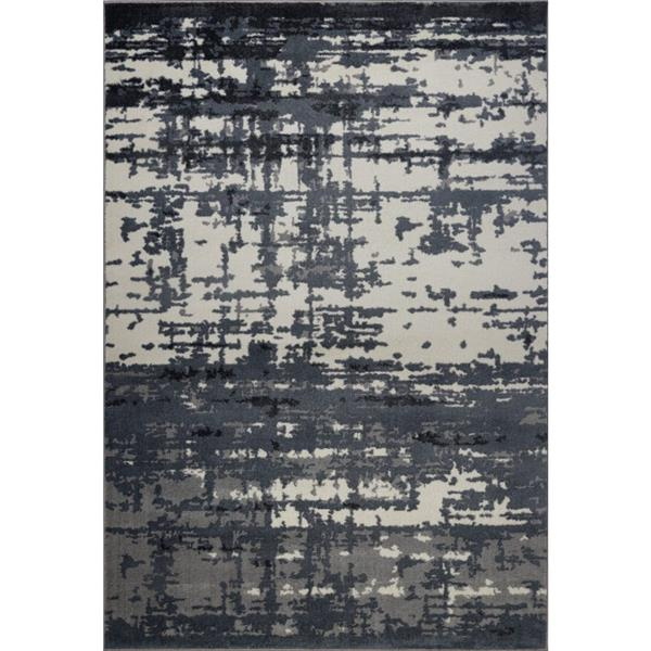 Tapis turque rectangulaire «Barrie», 7' x 10', gris/ivoire
