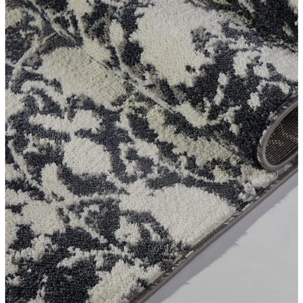 Tapis turque rectangulaire «Hamilton», 4' x 6', gris/ivoire