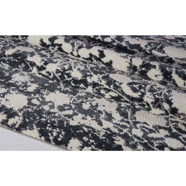 Tapis turque rectangulaire «Hamilton», 3' x 10', gris/ivoire