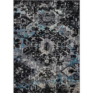Tapis abstrait contemporain «Coronado», 7' x 10', noir/bleu