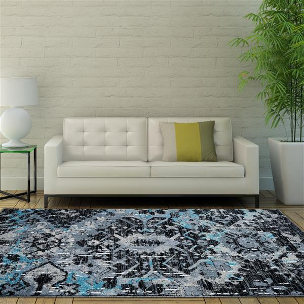 La Dole Rugs®  Coronado Abstract Contemporary Rug - 8' x 11' - Black/Blue
