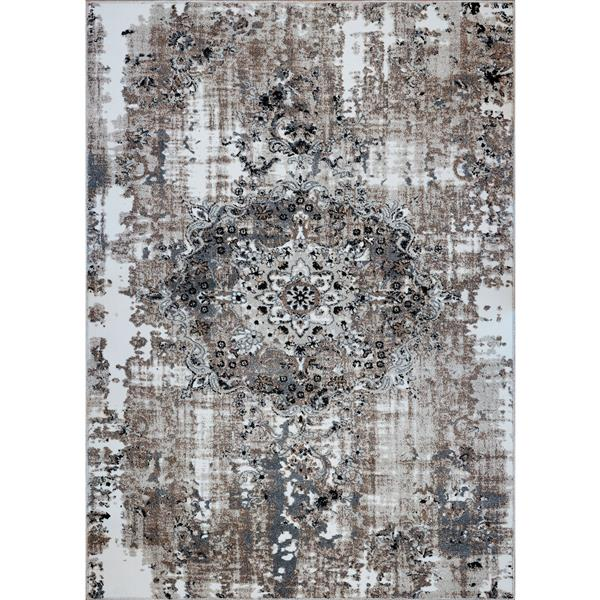 La Dole Rugs®  Coppers Abstract Contemporary Rug - 7' x 10' - Brown/Cream