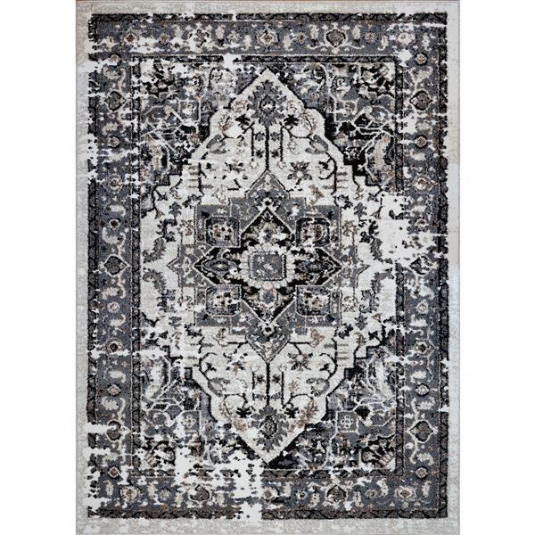 La Dole Rugs®  Hanuama Abstract Contemporary Rug - 5' x 8' - Grey/Cream