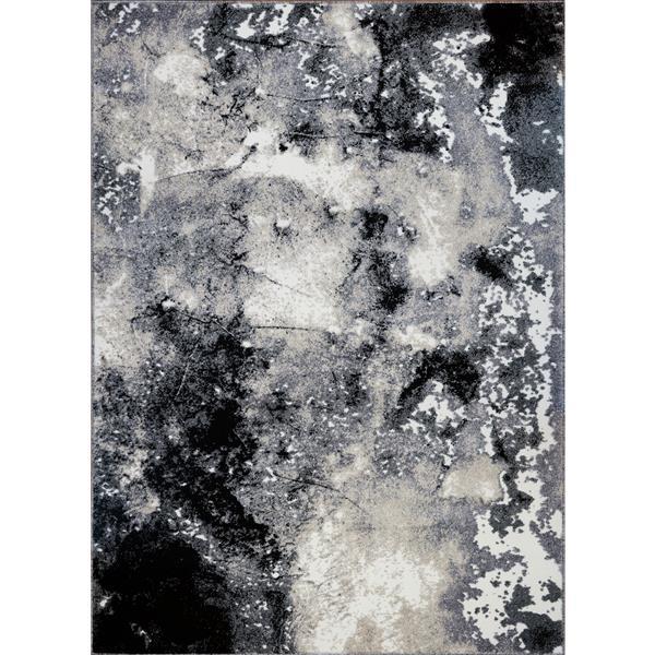 "Tapis abstrait contemporain «Everest Siesta», 8' x 11"", gris"