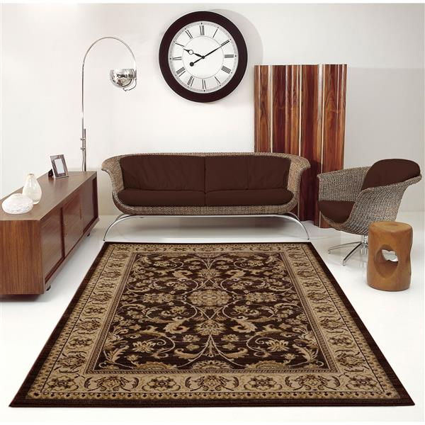 La Dole Rugs® Medallion Traditional Area Rug - 4' x 6' - Brown/Cream