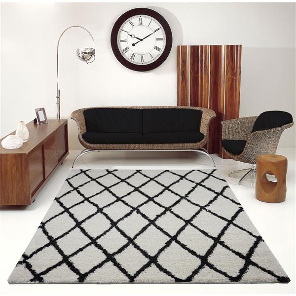 La Dole Rugs®  Geometric Trellis Area Rug - 8' x 11' - Ivory/Dark Grey