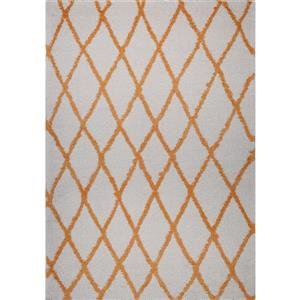 Tapis géométrique rectangulaire «Trellis», 5' x 8', orange