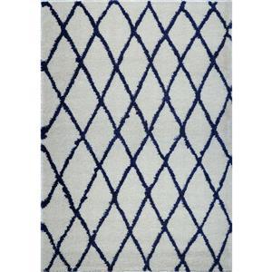 La Dole Rugs®  Geometric Trellis Area Rug - 5' x 8' - Ivory/Navy Blue