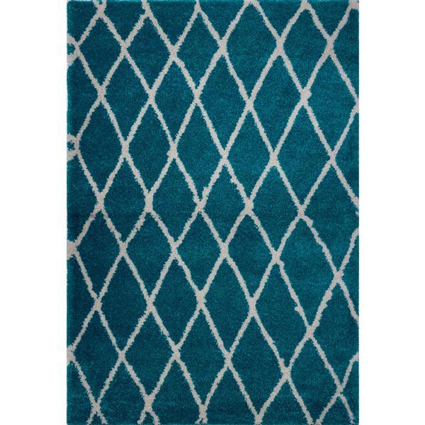 Tapis géométrique «Trellis», 8' x 11', turquoise/ivoire