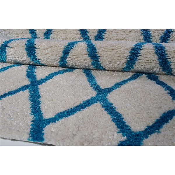 Tapis géométrique «Trellis», 8' x 11', ivoire/turquoise