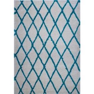 Tapis géométrique «Trellis», 5' x 8', ivoire/turquoise