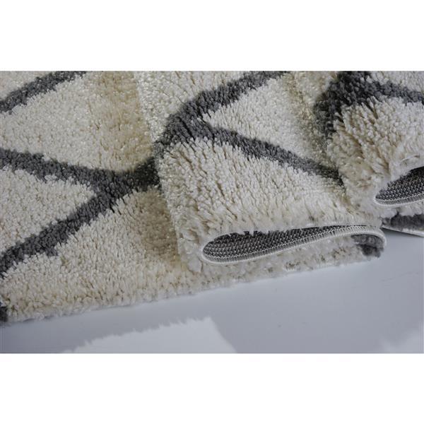 Tapis géométrique «Trellis», 5' x 8', ivoire/gris