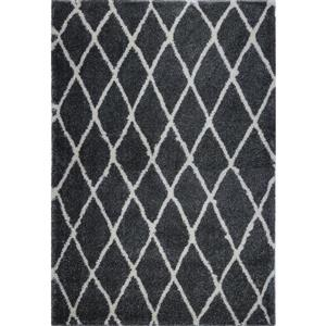 Tapis géométrique «Trellis», 4' x 6', gris foncé/ivoire