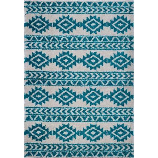 La Dole Rugs®  Creative Simple Trellis Rug - 7' x 10' - Turquoise/Ivory